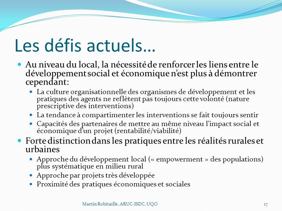 Les défis actuels… Au niveau du local, la nécessité de renforcer les liens entre le développement social et économique nest plus à démontrer cependant