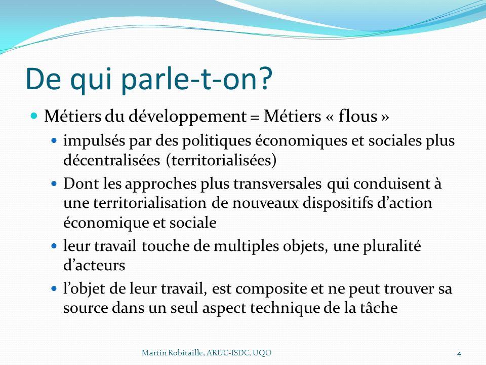 De qui parle-t-on? Métiers du développement = Métiers « flous » impulsés par des politiques économiques et sociales plus décentralisées (territorialis