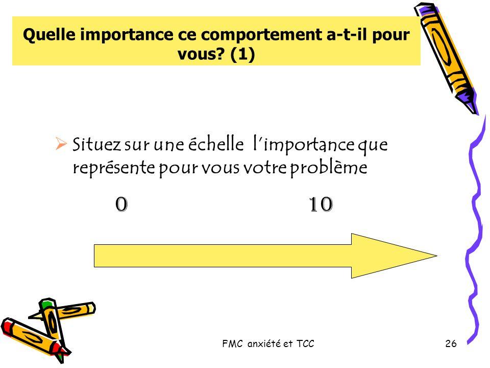 FMC anxiété et TCC26 Quelle importance ce comportement a-t-il pour vous? (1) Situez sur une échelle limportance que représente pour vous votre problèm