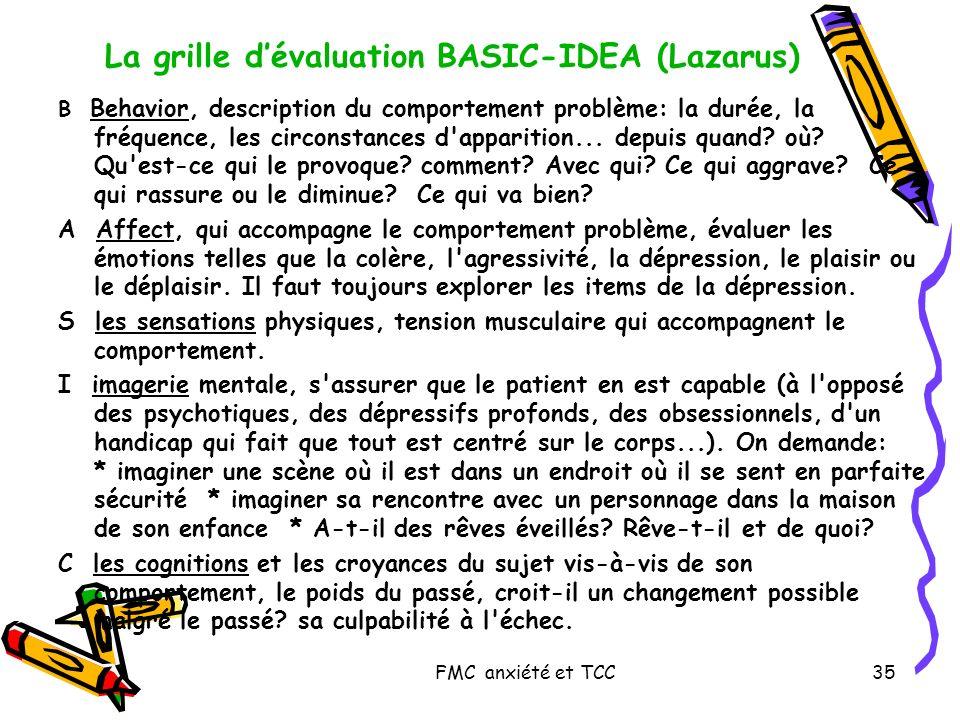 FMC anxiété et TCC35 La grille dévaluation BASIC-IDEA (Lazarus) B Behavior, description du comportement problème: la durée, la fréquence, les circonst