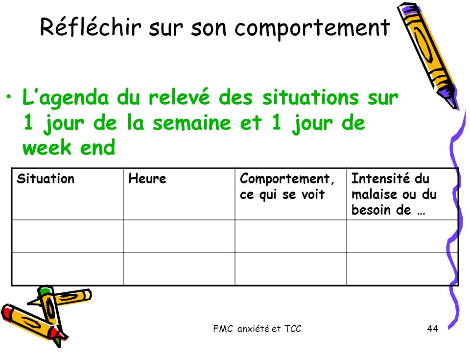 FMC anxiété et TCC44 Réfléchir sur son comportement Lagenda du relevé des situations sur 1 jour de la semaine et 1 jour de week end SituationHeureComp