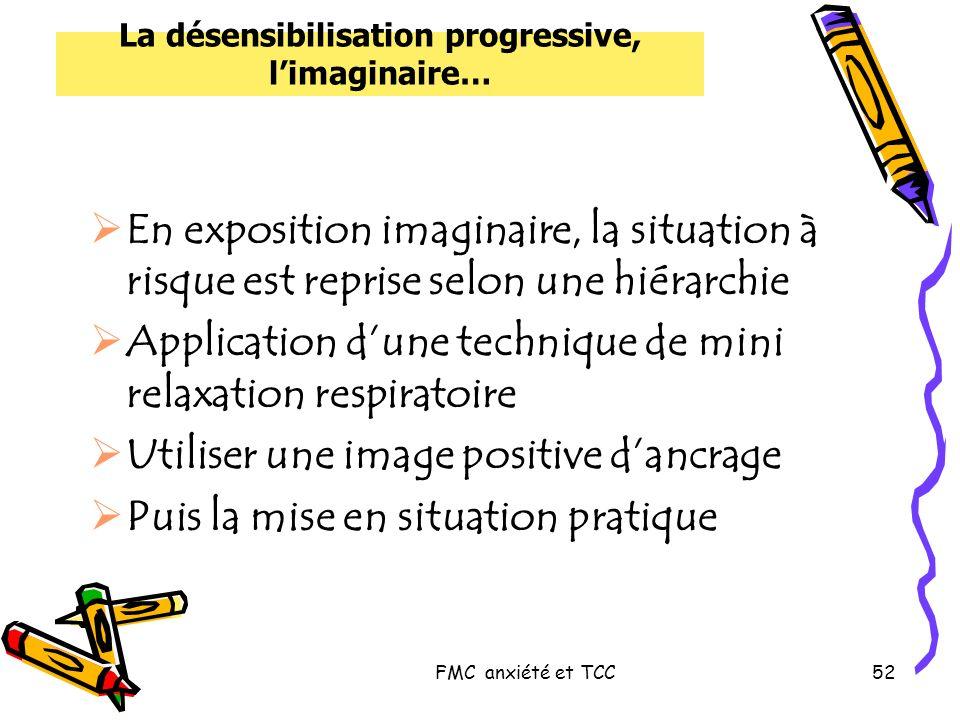 FMC anxiété et TCC52 La désensibilisation progressive, limaginaire… En exposition imaginaire, la situation à risque est reprise selon une hiérarchie A
