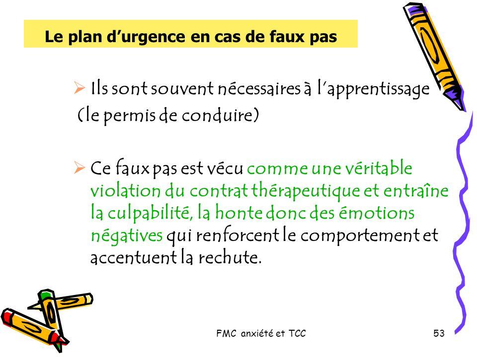 FMC anxiété et TCC53 Le plan durgence en cas de faux pas Ils sont souvent nécessaires à lapprentissage (le permis de conduire) Ce faux pas est vécu co