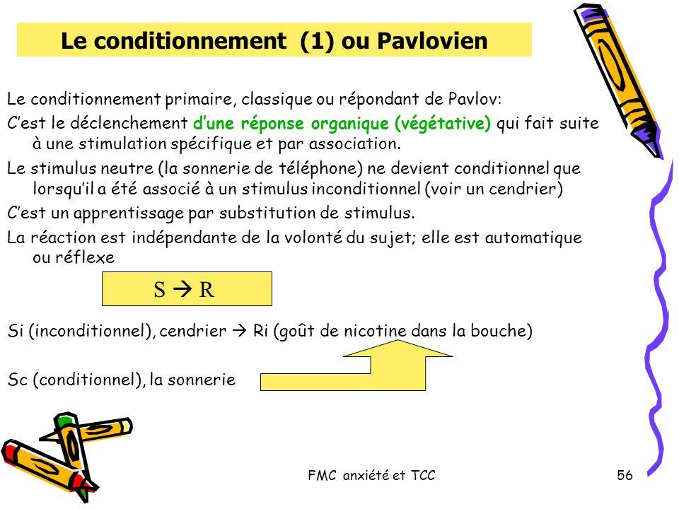 FMC anxiété et TCC56 Le conditionnement (1) ou Pavlovien Le conditionnement primaire, classique ou répondant de Pavlov: Cest le déclenchement dune rép