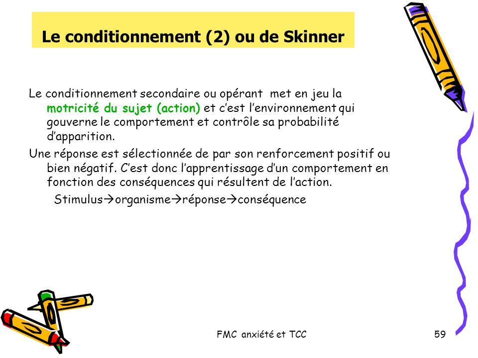 FMC anxiété et TCC59 Le conditionnement (2) ou de Skinner Le conditionnement secondaire ou opérant met en jeu la motricité du sujet (action) et cest l