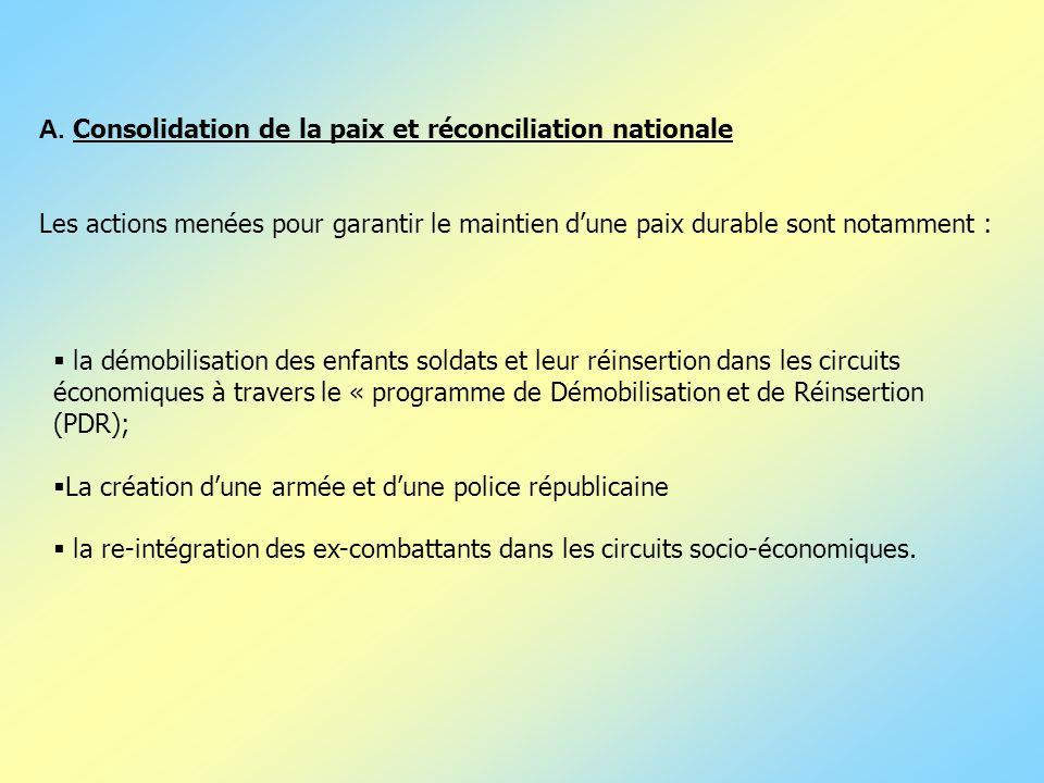 A. Consolidation de la paix et réconciliation nationale Les actions menées pour garantir le maintien dune paix durable sont notamment : la démobilisat
