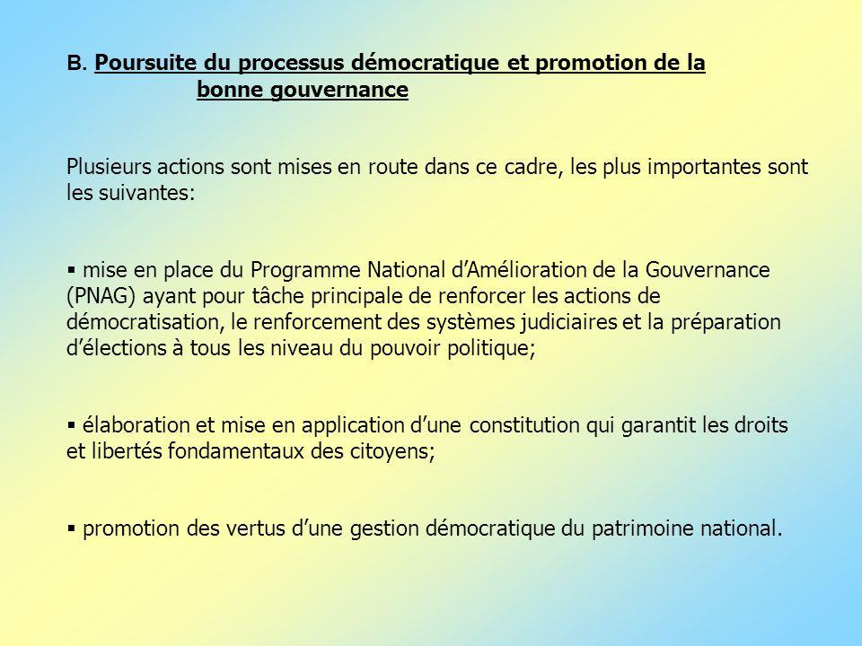 B. Poursuite du processus démocratique et promotion de la bonne gouvernance Plusieurs actions sont mises en route dans ce cadre, les plus importantes