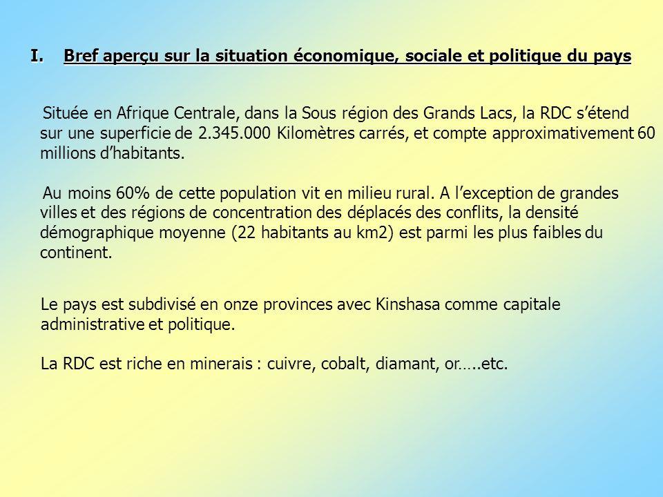 Située en Afrique Centrale, dans la Sous région des Grands Lacs, la RDC sétend sur une superficie de 2.345.000 Kilomètres carrés, et compte approximat