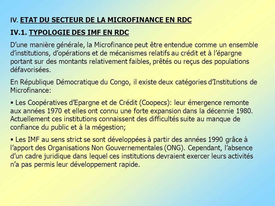 IV. ETAT DU SECTEUR DE LA MICROFINANCE EN RDC IV.1. TYPOLOGIE DES IMF EN RDC Dune manière générale, la Microfinance peut être entendue comme un ensemb