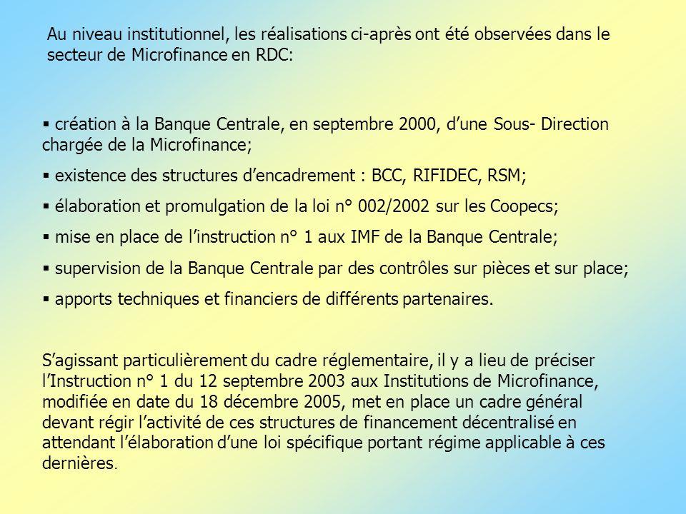 création à la Banque Centrale, en septembre 2000, dune Sous- Direction chargée de la Microfinance; existence des structures dencadrement : BCC, RIFIDE