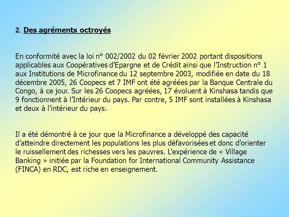 2. Des agréments octroyés En conformité avec la loi n° 002/2002 du 02 février 2002 portant dispositions applicables aux Coopératives dEpargne et de Cr