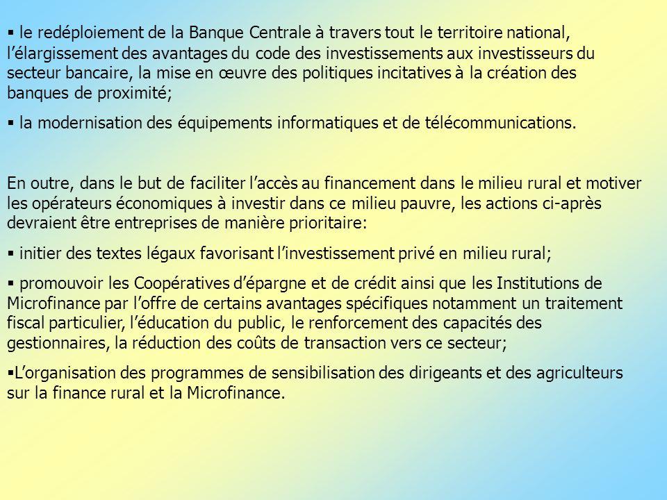 le redéploiement de la Banque Centrale à travers tout le territoire national, lélargissement des avantages du code des investissements aux investisseu
