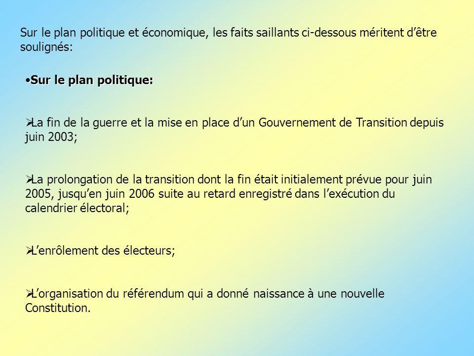 Sur le plan politique:Sur le plan politique: La fin de la guerre et la mise en place dun Gouvernement de Transition depuis juin 2003; La prolongation