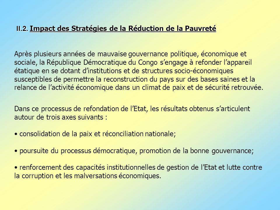II.2. Impact des Stratégies de la Réduction de la Pauvreté II.2. Impact des Stratégies de la Réduction de la Pauvreté Après plusieurs années de mauvai