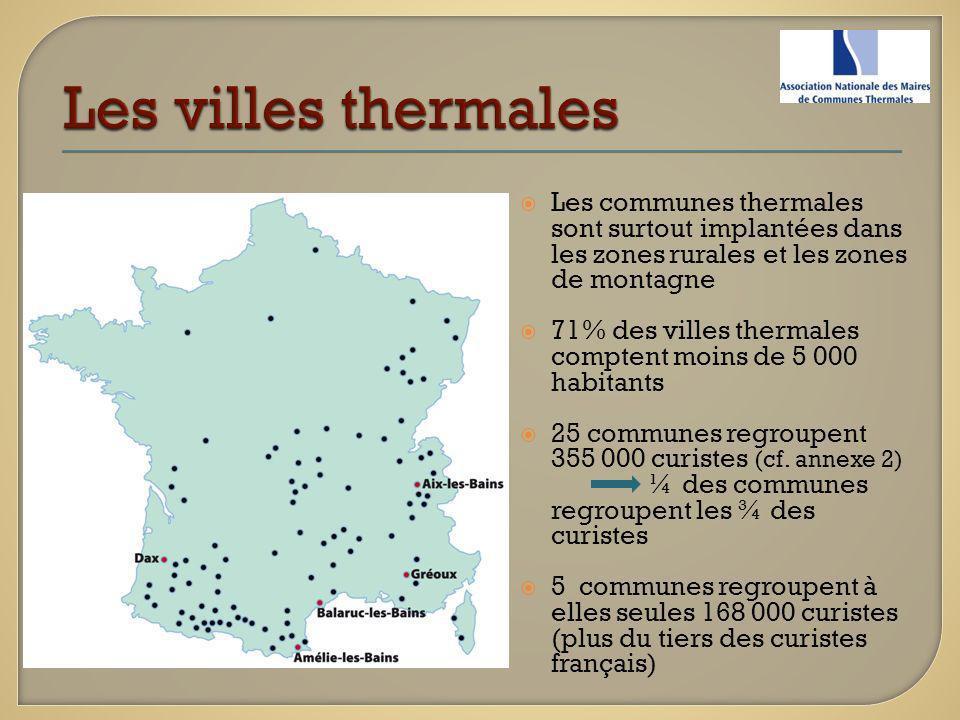 Les communes thermales sont surtout implantées dans les zones rurales et les zones de montagne 71% des villes thermales comptent moins de 5 000 habita
