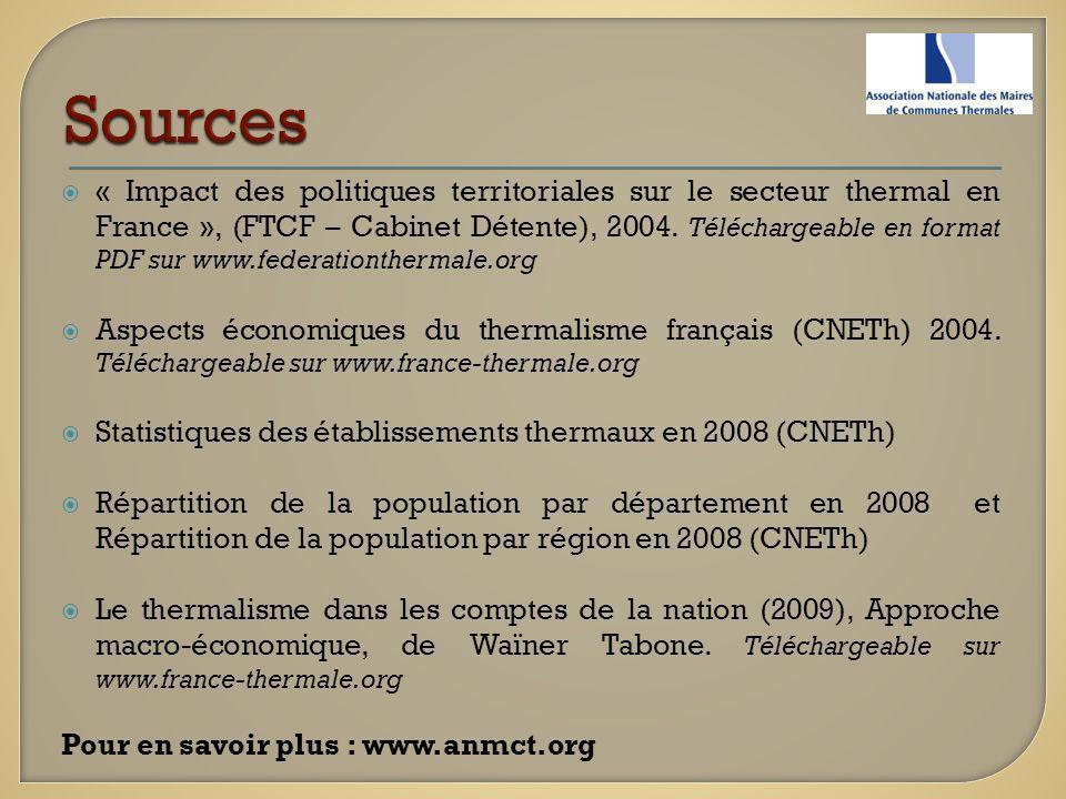 « Impact des politiques territoriales sur le secteur thermal en France », (FTCF – Cabinet Détente), 2004. Téléchargeable en format PDF sur www.federat