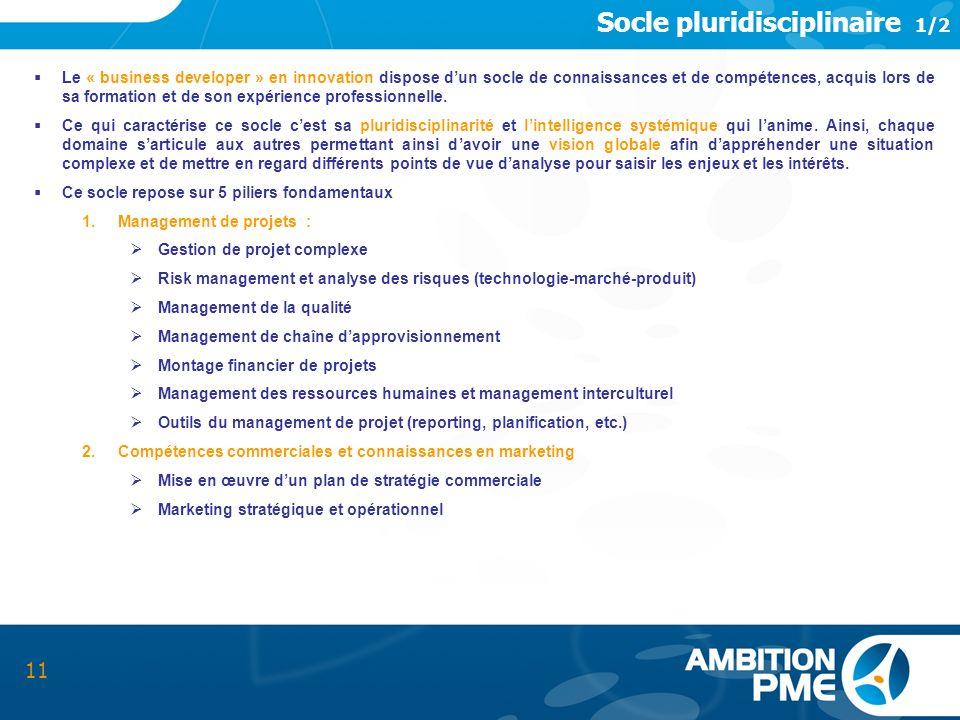 Socle pluridisciplinaire 1/2 11 Le « business developer » en innovation dispose dun socle de connaissances et de compétences, acquis lors de sa format