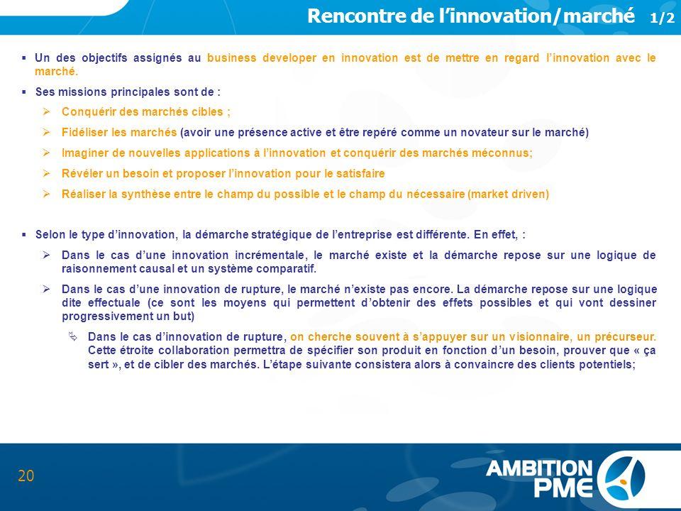 Rencontre de linnovation/marché 1/2 20 Un des objectifs assignés au business developer en innovation est de mettre en regard linnovation avec le march
