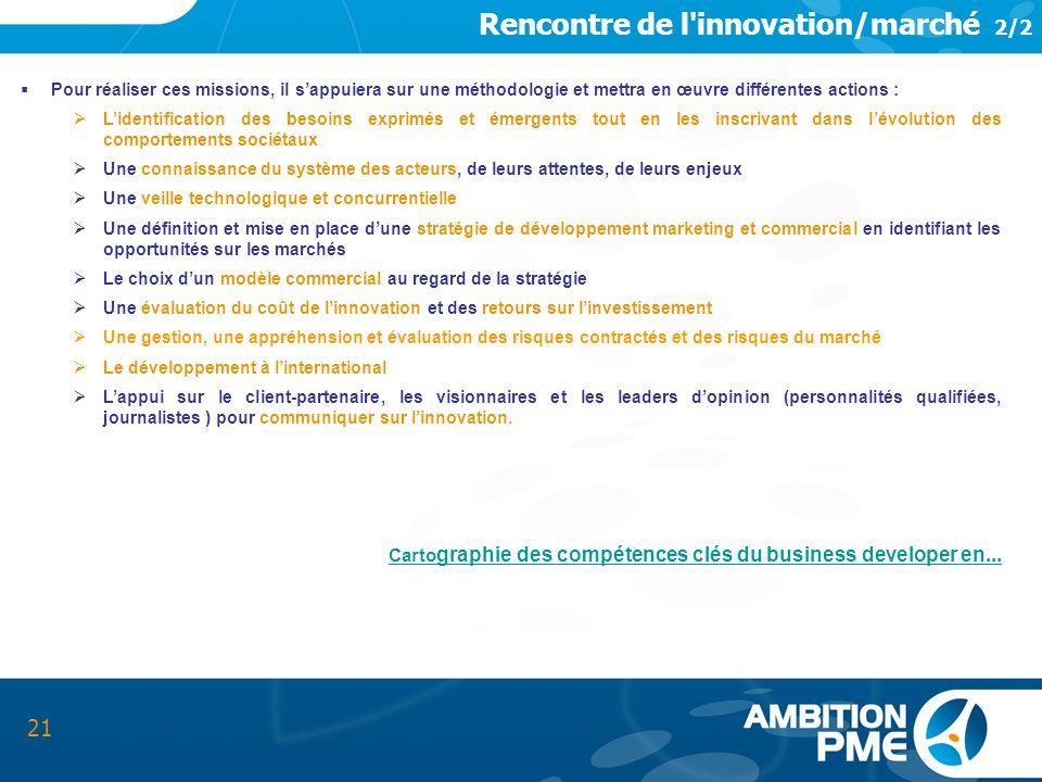 Rencontre de l'innovation/marché 2/2 21 Pour réaliser ces missions, il sappuiera sur une méthodologie et mettra en œuvre différentes actions : Lidenti