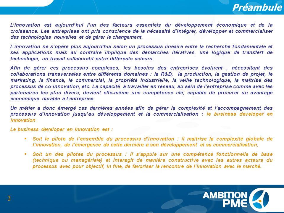 Préambule 3 Linnovation est aujourdhui lun des facteurs essentiels du développement économique et de la croissance. Les entreprises ont pris conscienc