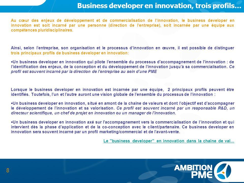 Business developer en innovation, trois profils… Au cœur des enjeux de développement et de commercialisation de linnovation, le business developer en