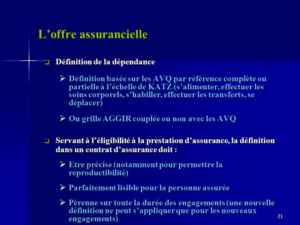 Loffre assurancielle Définition de la dépendance Définition de la dépendance Définition basée sur les AVQ par référence complète ou partielle à léchel