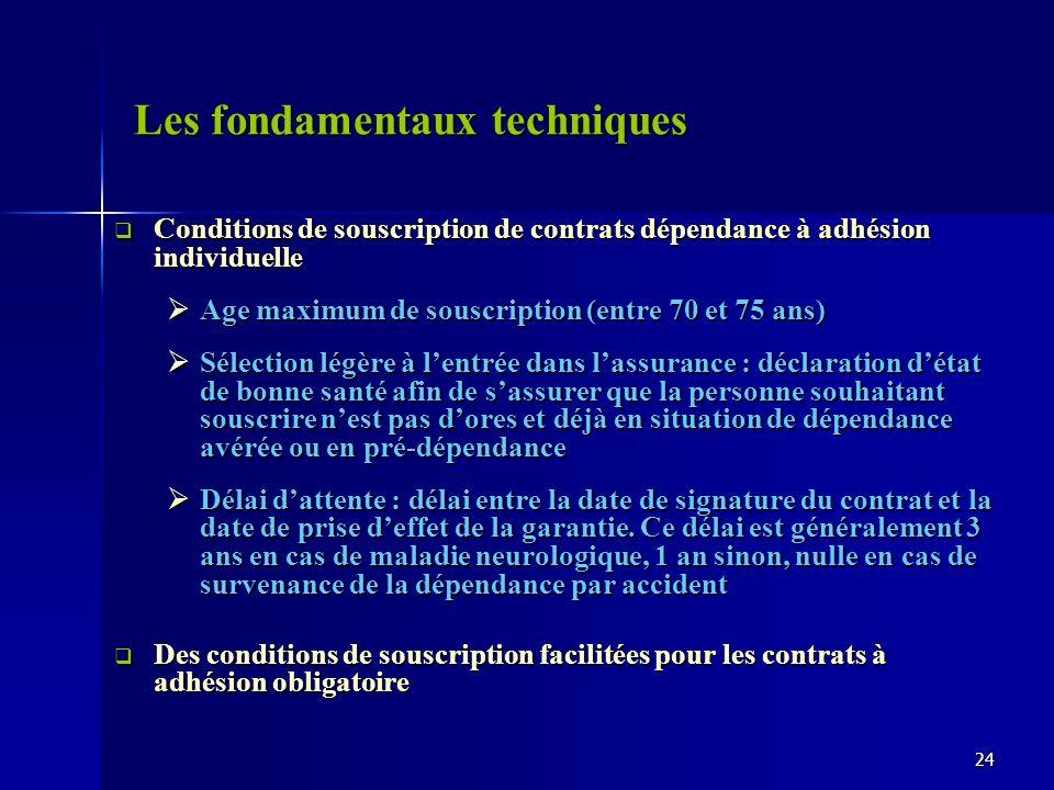 Les fondamentaux techniques Conditions de souscription de contrats dépendance à adhésion individuelle Conditions de souscription de contrats dépendanc