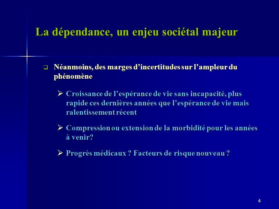 La dépendance, un enjeu sociétal majeur Néanmoins, des marges dincertitudes sur lampleur du phénomène Néanmoins, des marges dincertitudes sur lampleur