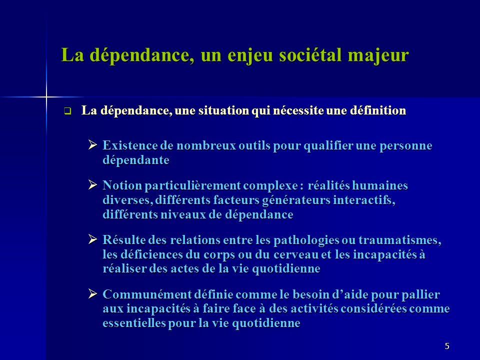 La dépendance, un enjeu sociétal majeur La dépendance, une situation qui nécessite une définition La dépendance, une situation qui nécessite une défin