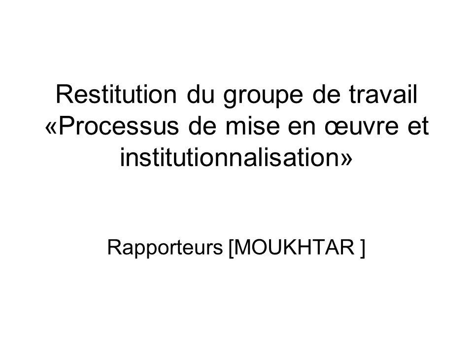Restitution du groupe de travail «Processus de mise en œuvre et institutionnalisation» Rapporteurs [MOUKHTAR ]