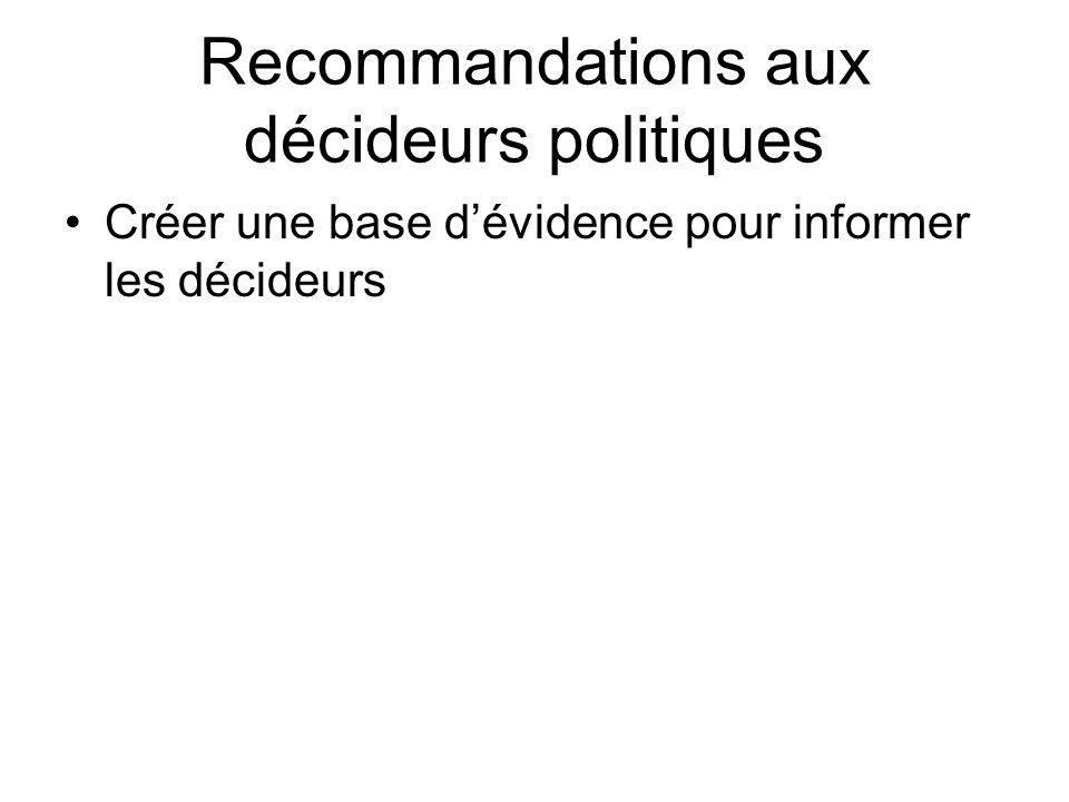 Recommandations aux décideurs politiques Créer une base dévidence pour informer les décideurs
