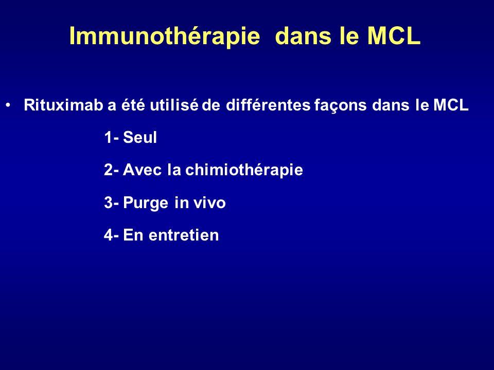 Immunothérapie dans le MCL Rituximab a été utilisé de différentes façons dans le MCL 1- Seul 2- Avec la chimiothérapie 3- Purge in vivo 4- En entretie