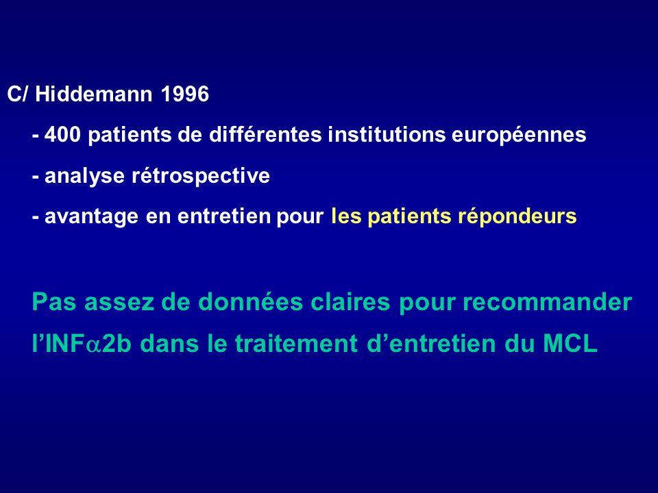 C/ Hiddemann 1996 - 400 patients de différentes institutions européennes - analyse rétrospective - avantage en entretien pour les patients répondeurs