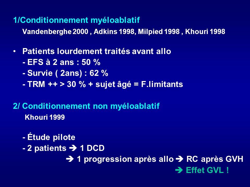 1/Conditionnement myéloablatif Vandenberghe 2000, Adkins 1998, Milpied 1998, Khouri 1998 Patients lourdement traités avant allo - EFS à 2 ans : 50 % -