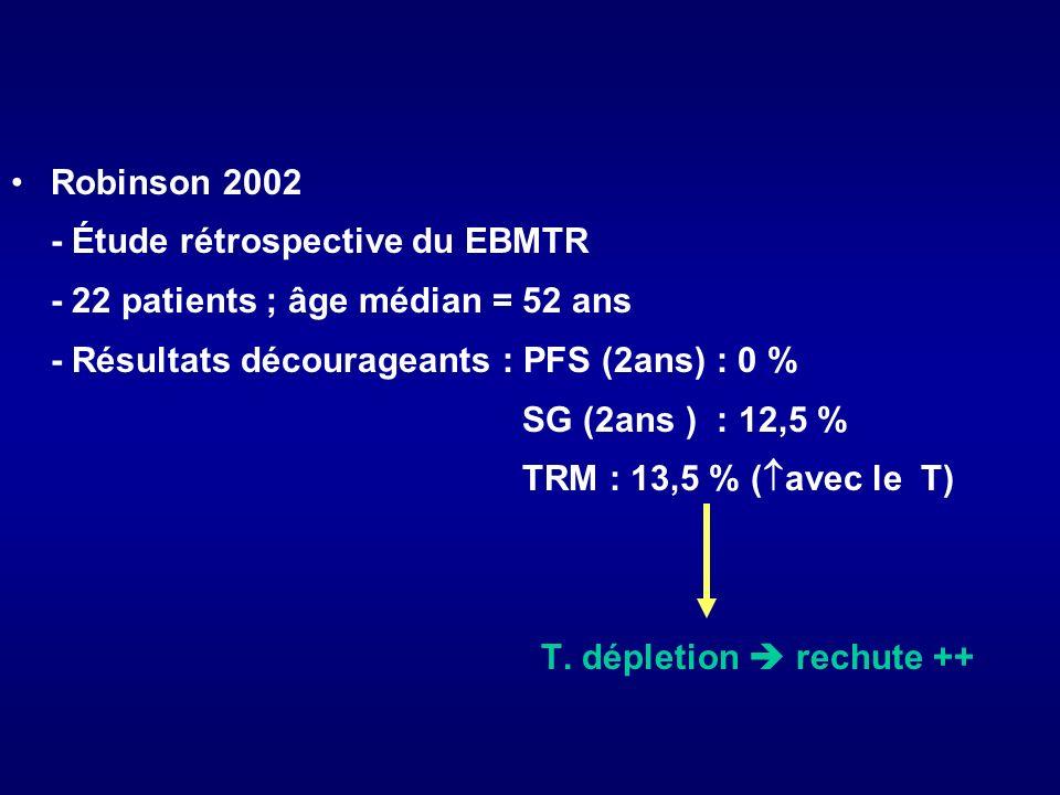 Robinson 2002 - Étude rétrospective du EBMTR - 22 patients ; âge médian = 52 ans - Résultats décourageants : PFS (2ans) : 0 % SG (2ans ) : 12,5 % TRM