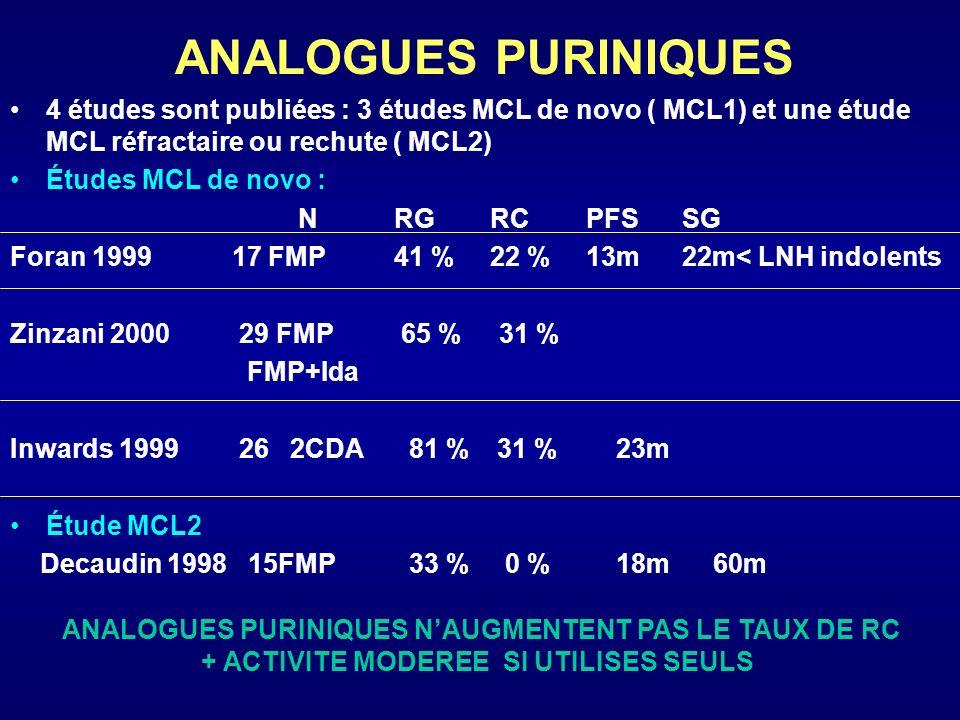 ANALOGUES PURINIQUES 4 études sont publiées : 3 études MCL de novo ( MCL1) et une étude MCL réfractaire ou rechute ( MCL2) Études MCL de novo : NRG RC