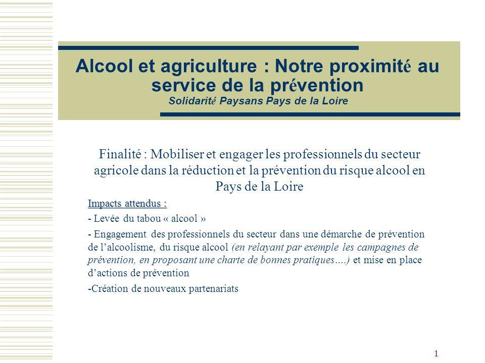 1 Alcool et agriculture : Notre proximit é au service de la pr é vention Solidarit é Paysans Pays de la Loire Finalité : Mobiliser et engager les prof