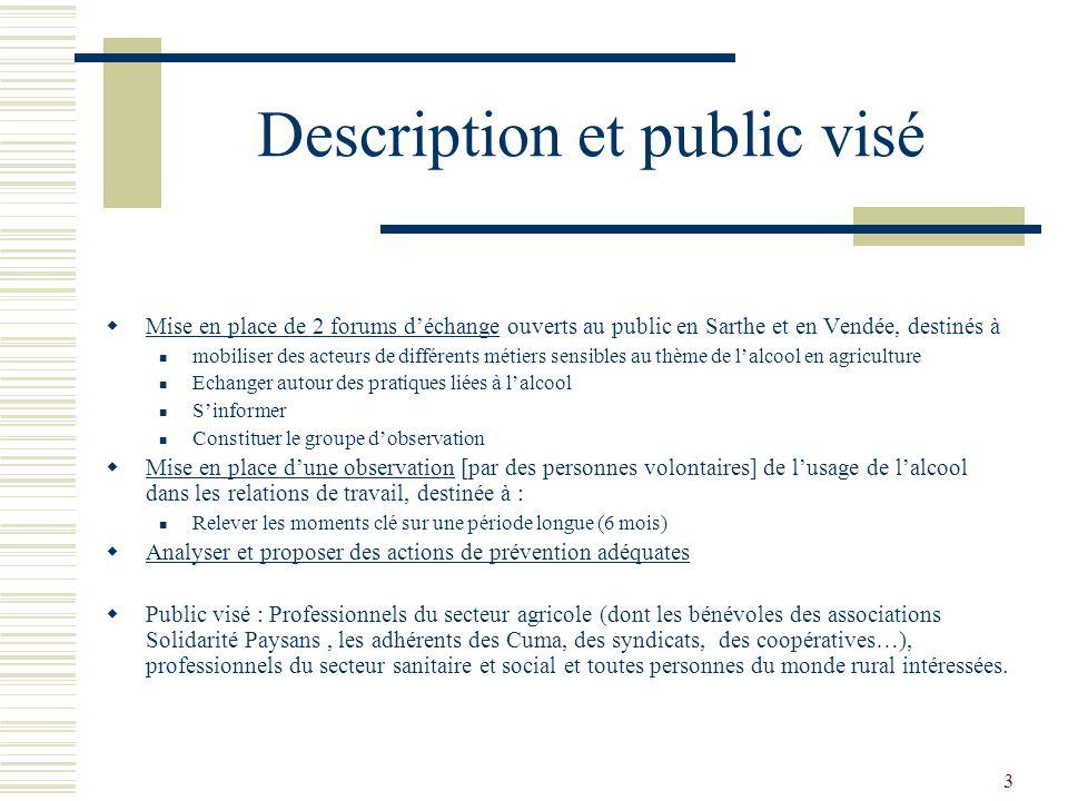 3 Description et public visé Mise en place de 2 forums déchange ouverts au public en Sarthe et en Vendée, destinés à mobiliser des acteurs de différen