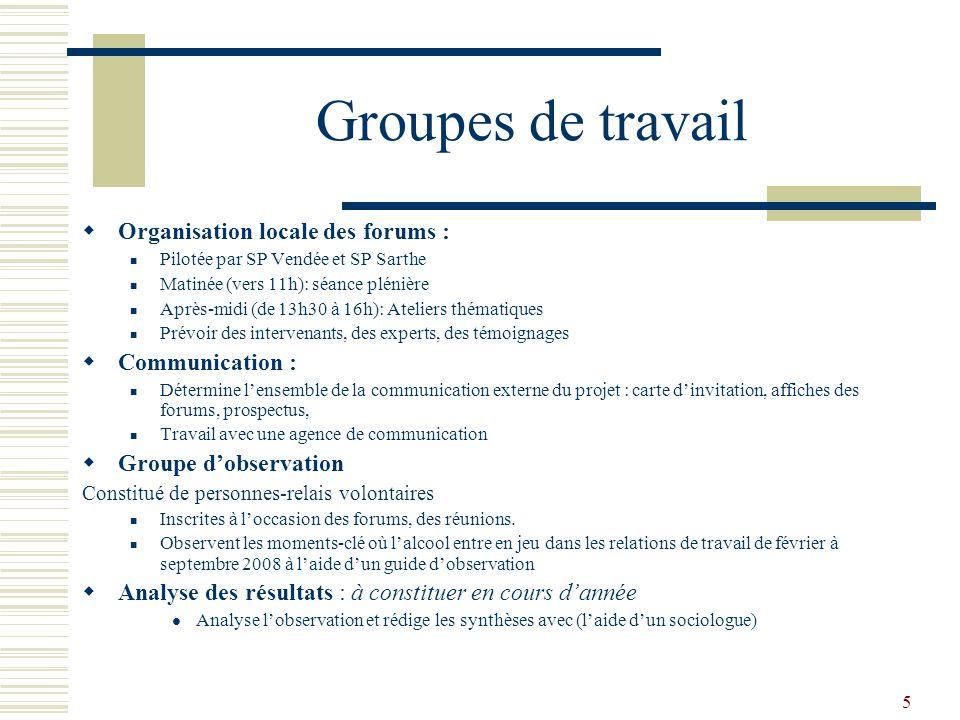 5 Groupes de travail Organisation locale des forums : Pilotée par SP Vendée et SP Sarthe Matinée (vers 11h): séance plénière Après-midi (de 13h30 à 16