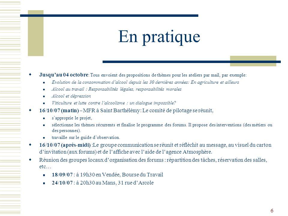 6 En pratique Jusquau 04 octobre : Tous envoient des propositions de thèmes pour les ateliers par mail, par exemple: Evolution de la consommation dalc