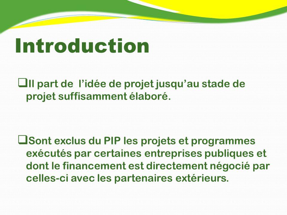 Composition du PIP Ce PIP global comprend deux types de projets : Projets à financement acquis qui jouent un rôle important dans le montage de la tranche annuelle du PIP (Budget Consolidé dInvestissement) Projets à financement à rechercher qui se subdivisent en projets à financer par lAPD et le secteur privé.