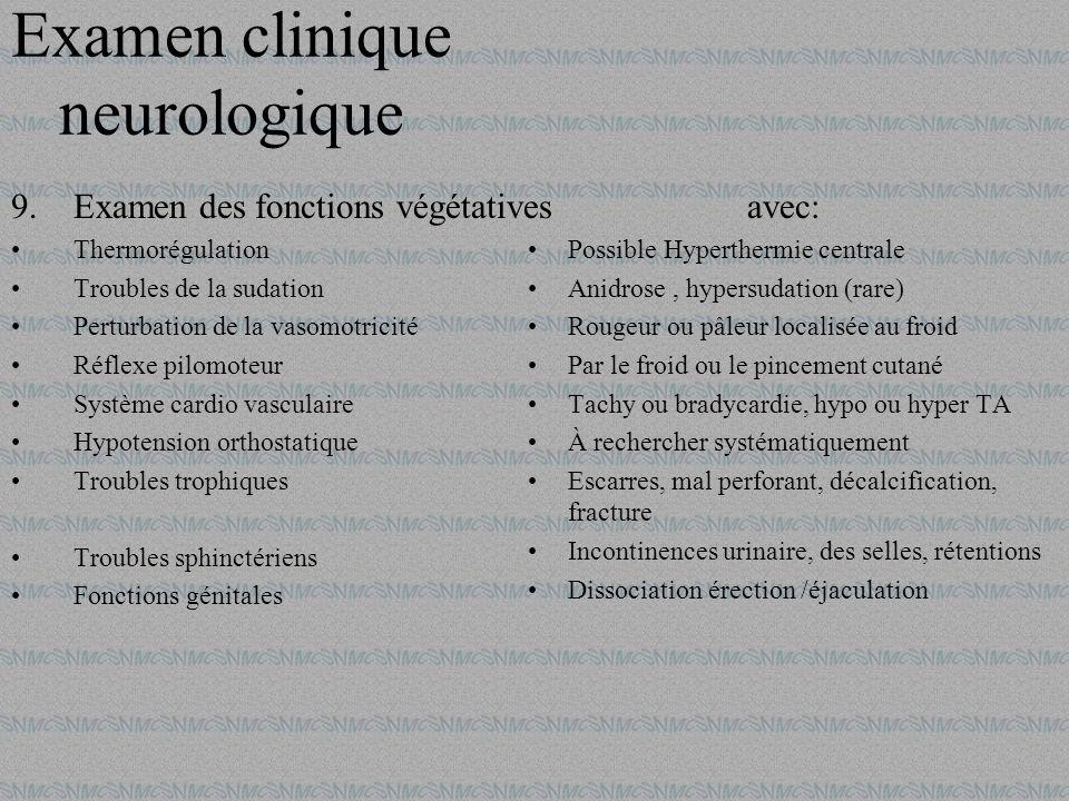 9.Examen des fonctions végétatives Thermorégulation Troubles de la sudation Perturbation de la vasomotricité Réflexe pilomoteur Système cardio vascula