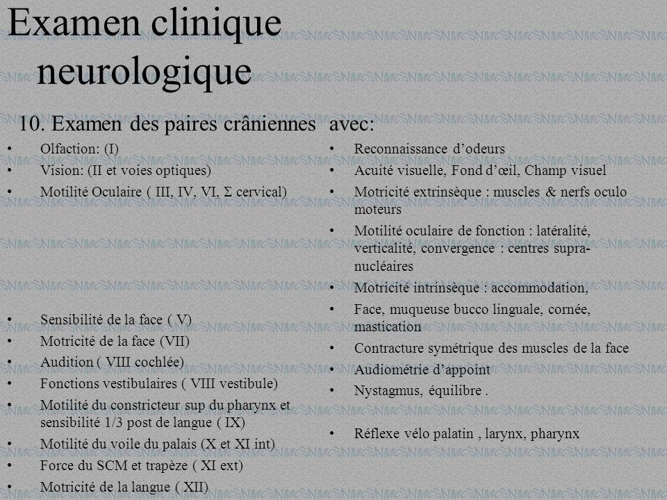 10.Examen des paires crâniennes Olfaction: (I) Vision: (II et voies optiques) Motilité Oculaire ( III, IV, VI, cervical) Sensibilité de la face ( V) M