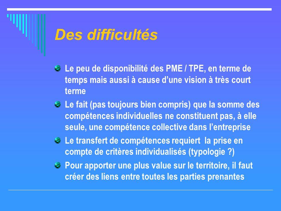 Des difficultés Le peu de disponibilité des PME / TPE, en terme de temps mais aussi à cause dune vision à très court terme Le fait (pas toujours bien