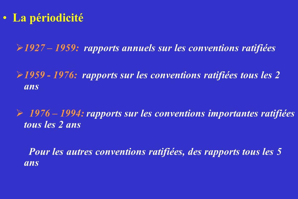 La périodicité 1927 – 1959: rapports annuels sur les conventions ratifiées 1959 - 1976: rapports sur les conventions ratifiées tous les 2 ans 1976 – 1