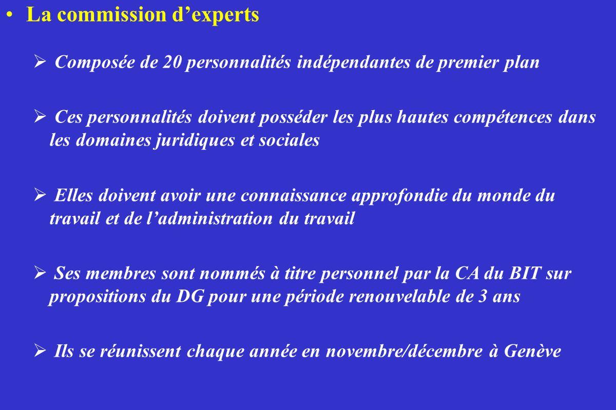 La commission dexperts Composée de 20 personnalités indépendantes de premier plan Ces personnalités doivent posséder les plus hautes compétences dans