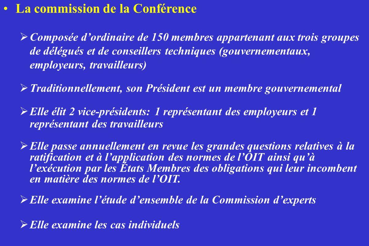 La commission de la Conférence Composée dordinaire de 150 membres appartenant aux trois groupes de délégués et de conseillers techniques (gouvernement