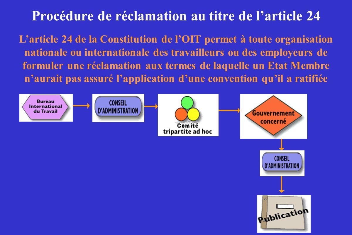 Procédure de réclamation au titre de larticle 24 Larticle 24 de la Constitution de lOIT permet à toute organisation nationale ou internationale des tr
