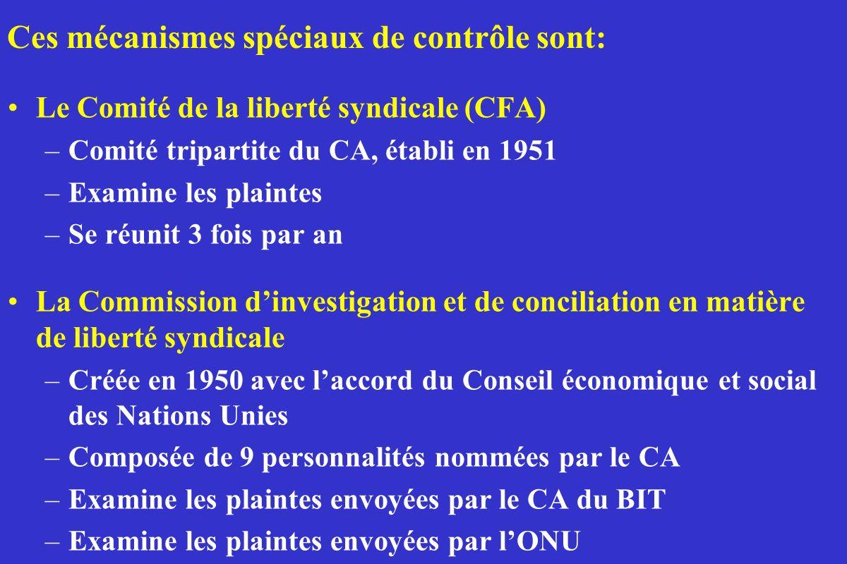 Le Comité de la liberté syndicale (CFA) –Comité tripartite du CA, établi en 1951 –Examine les plaintes –Se réunit 3 fois par an La Commission dinvesti