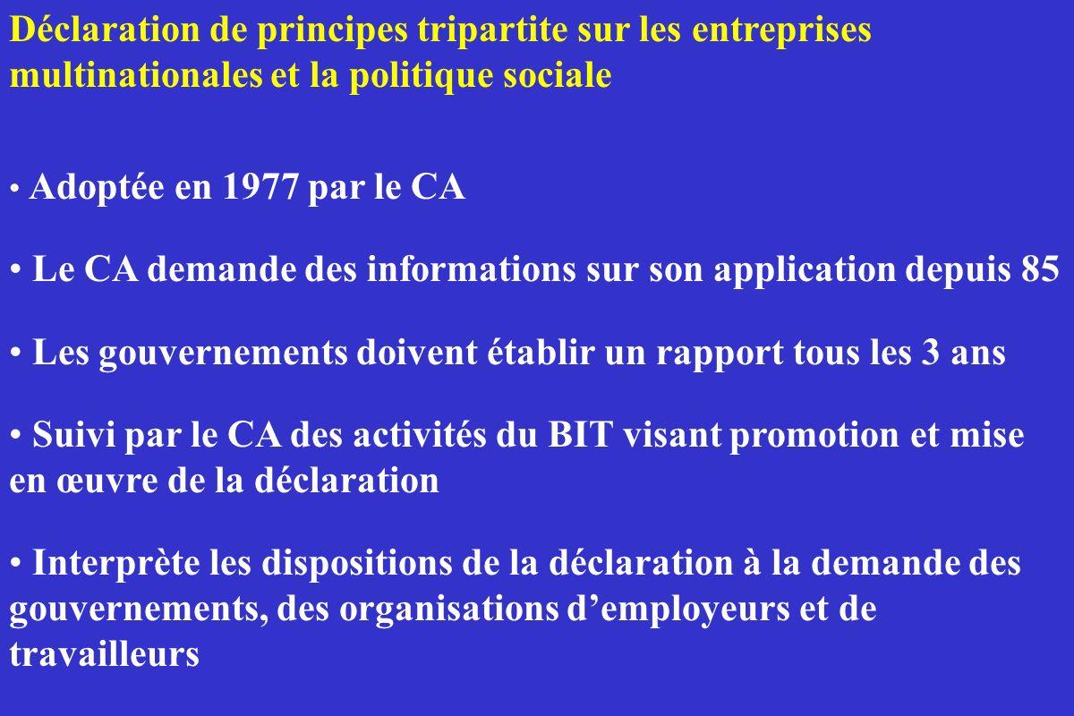 Déclaration de principes tripartite sur les entreprises multinationales et la politique sociale Adoptée en 1977 par le CA Le CA demande des informatio